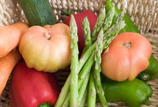 Vegetables.  Basket Full Of Fresh Products Royalty Free Stock Images