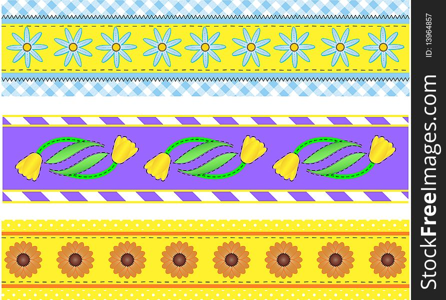 Jpg.  Borders with Flowers, Stripes, Dots and Ging