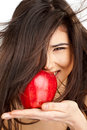 Free Smiling Female Red Apple Stock Image - 13973821
