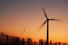 Free Electric Windmill At Sunset Royalty Free Stock Image - 13970006