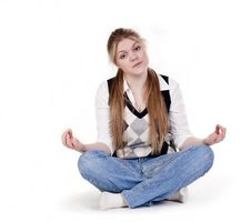 Blond Woman Meditating Royalty Free Stock Photography