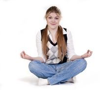 Blond Woman Meditating Stock Images