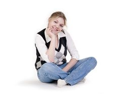 Free Woman Sitting On Floor Royalty Free Stock Images - 13971429