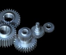 Free Gears On Black Background Stock Photo - 13973320