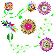 Free Set Collors Flowers Royalty Free Stock Photo - 13973585