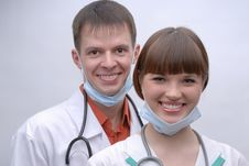 Free Portrait Of Two Smiling Doctors Royalty Free Stock Image - 13973696