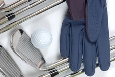 Free Golg Clubs With Glove Stock Image - 13975081