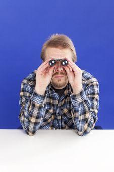 Free Man Watches With Binoculars Stock Image - 13975431