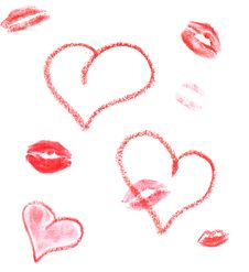 Free Lipstick Hearts And Lips Print Royalty Free Stock Photos - 13977128