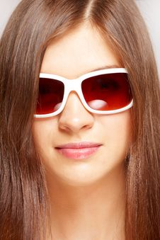 Beautiful Young Girl With Fashion Sunglasses Royalty Free Stock Photography