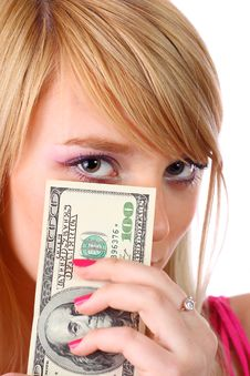 Free Woman Holding Money Royalty Free Stock Image - 13977856