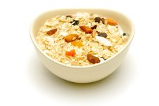 Free Bowl Of Fruit And Nut Muesli Isolated Royalty Free Stock Images - 13977869