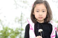 Free Asian Girl And Dandelion Royalty Free Stock Photos - 13979318