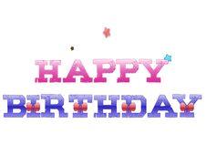 Happy Birthday Pink Blue Stars Ribbon Letters Illustration Royalty Free Stock Photos