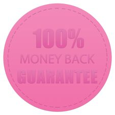 Free 100 MONEY BACK GUARANTEE BADGE PRODUCT ICON LABEL PINK COLOR ILLUSTRATION Stock Photo - 139775530