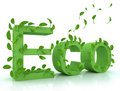 Free Green Word ECO With Leaves Stock Photography - 13981112