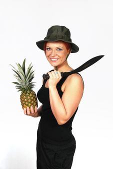 Girl With The Machete And The Rascal Royalty Free Stock Photos