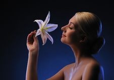 Free Woman With Lily Flower Stock Image - 13981791