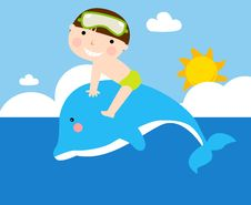 Free Boy And Dolphin Stock Images - 13981844