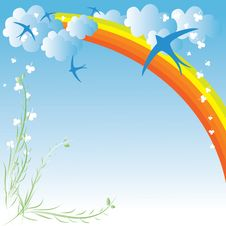 Free Spring Design With Clouds Royalty Free Stock Photos - 13982728