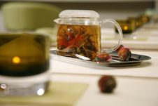Glass Tea Pot With Fresh Green Tea Royalty Free Stock Photos