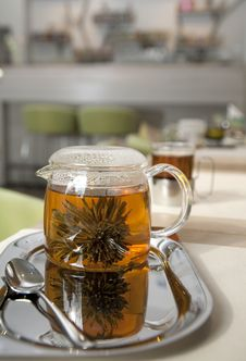 Glass Tea Pot With Fresh Green Tea Stock Photography