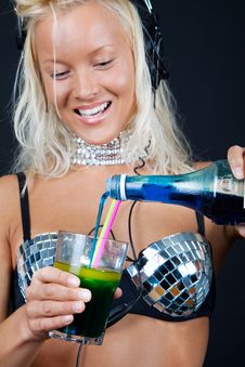 Free Cocktail And Bottle In Girls Hands Royalty Free Stock Photo - 13983235