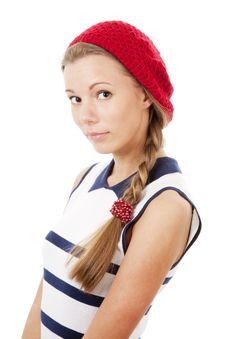 Free Girl In Red Hat Stock Image - 13983621