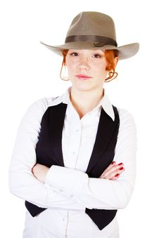 Free Redhead Girl In Hat Royalty Free Stock Photos - 13983808