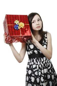 Free Girl With Gift Stock Images - 13983944