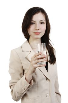 Free Girl With Glass Of Water Stock Images - 13984114
