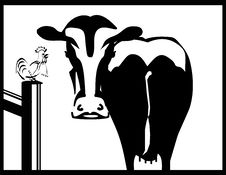 Free Black And White Cow  And A Rooster  Silhouette Stock Image - 13984411