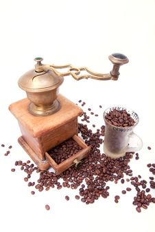 Coffee Grinder And Coffee Royalty Free Stock Image