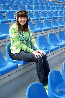 Free Smiling Teen At The Stadium Royalty Free Stock Photography - 13986497