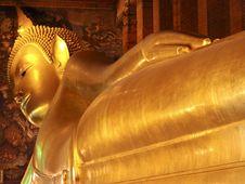 Reclining Gold Buddha Stock Photo
