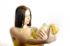 Free Young Woman Holding Canes With Different Pasta Stock Photos - 13986963