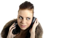 Free Young Sexy Party Girl With Headphones Stock Images - 13987014