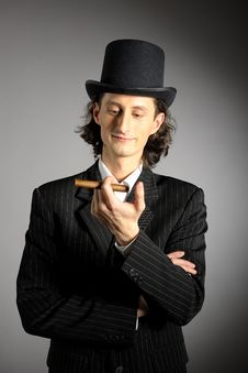 Intelligent Gangster Man With Cigare Stock Photography