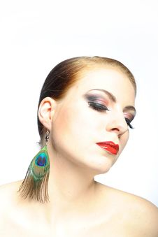 Beauty Female Face With Red Shiny Lips