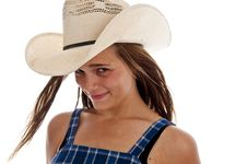Free Cute Teen Girl In Straw Cowboy Hat Stock Images - 13988314