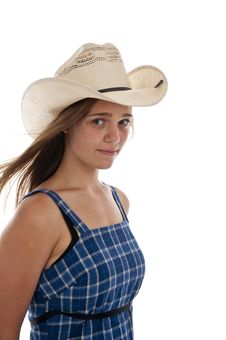 Free Cute Teen Girl In Straw Cowboy Hat Royalty Free Stock Photography - 13988327