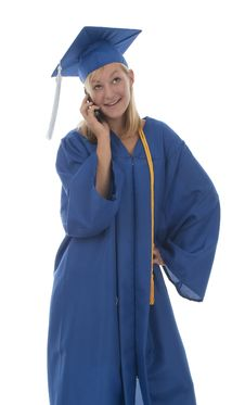 Free Graduating Girl In Gown On Cell Stock Photos - 13988543