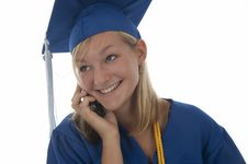 Free Graduating Girl In Gown On Cell Royalty Free Stock Images - 13988549