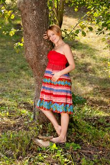 Free Pregnant Woman On A Grass Stock Photos - 13988963