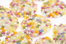 White Chocolate Buttons With Sprinkles Stock Image