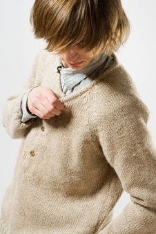 Free Waist Up Portrait Of Young Man On Light Gray Stock Photo - 13989520