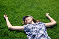 Free Young Girl Laying On The Grass Royalty Free Stock Image - 13991166