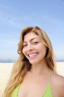 Free Beautiful Blond Woman Enjoying The Beach Stock Photo - 13990210