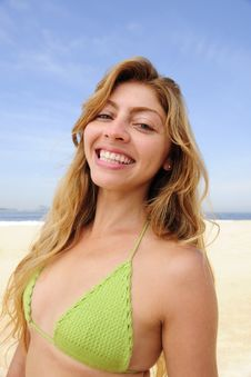Free Beautiful Blond Woman Enjoying The Beach Royalty Free Stock Photo - 13990255