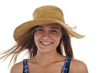 Free Cute Teen Girl In Straw Hat Royalty Free Stock Images - 13991249
